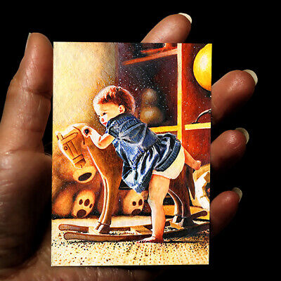 original painting acrylic oil art picture drawing signed ACEO little girl by GG