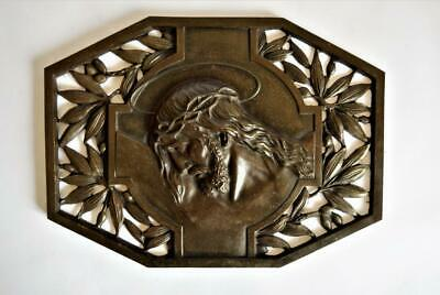 LARGE ANTIQUE FRENCH BRONZE Signed RELIGIOUS WALL PLAQUE Jesus Crown Of Thorns