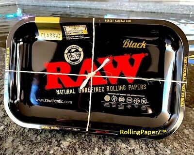 RAW Gold and Black Metal Rolling Tray Limited Edition 11'' x 7'' Size RAWthentic