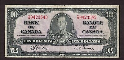 Bank Of Canada 1937 $10.00 Gordon Towers Banknote Serial Number Y/D9423543 Vg-F