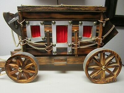 Vintage Texas Covered Stagecoach Wooden Western Wagon TV Lamp Cowboy Night Light
