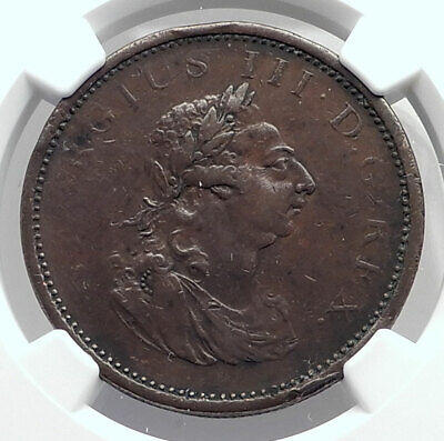 1805 IRELAND under Great Britain / UK King GEORGE III Penny Coin NGC i80065