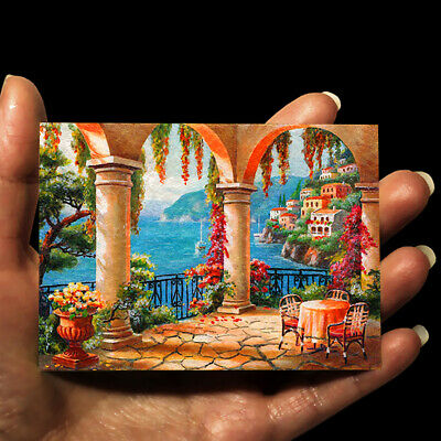 original painting acrylic oil art picture ACEO Landscape Mediterranean Sea by GG