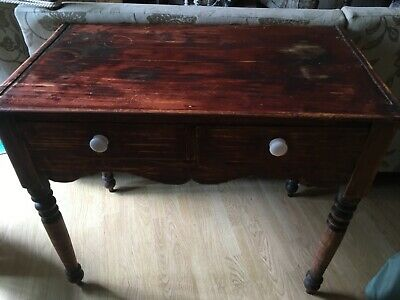 Antique pine table with two drawers hand cut dovetail joints
