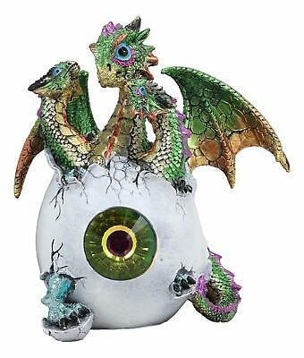Green Emerald Crystal Hydra 3 Headed Dragon Hatchling In Egg Shell Statue Decor