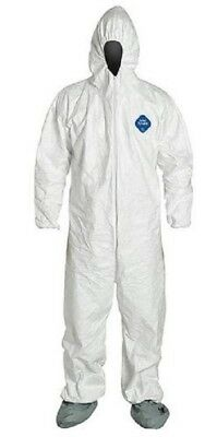 (Pack of 6) Dupont TY122S White Tyvek Coverall Bunny Suit Hood & Boots XL-3XL