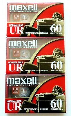 3 X Maxell Ur 60 Normal Position Type I Blank Audio Cassette Tapes