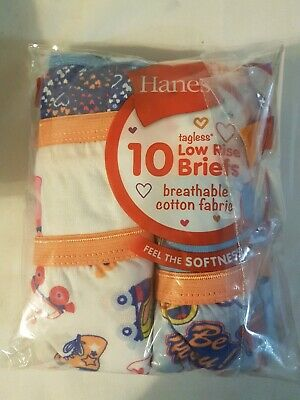 HANES Tagless No Ride-Up Briefs for Girls | Size 8 | 6 Briefs NOT 10