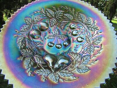 Northwood THREE FRUITS ANTIQUE CARNIVAL ART GLASS PLATE~GREEN~GORGEOUS EXAMPLE!