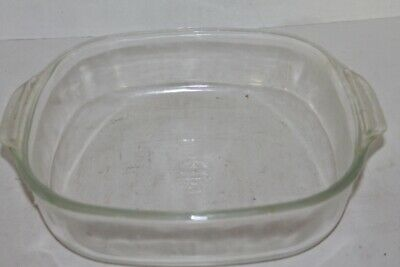 """VTG 3 Qt. FIRE KING ANCHOR HOCKING 10"""" SQUARE Glass CASSEROLE -Clear- RARE"""