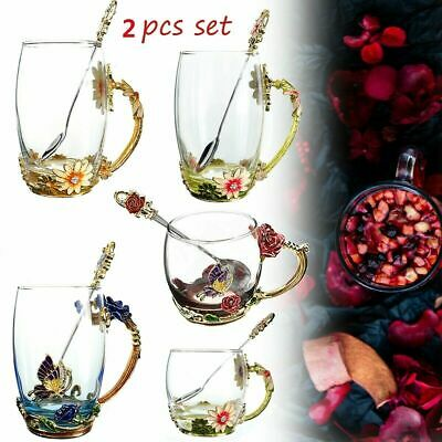 AU Enamel Glass Rose Flower Tea Cup Set Spoon Coffee Cup Mug Wedding X'mas Gift