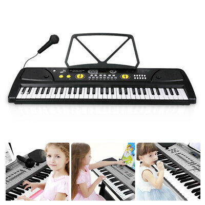 61 Key Music Electronic Keyboard Electric Digital Piano Organ w/ Mic & Stand