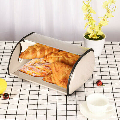 Metal Bread Box With Roll Top Lid kitchen Storage Containers Kitchen Food Box