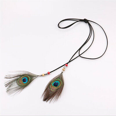 Contracted Fashion Female Cord Peacock Feather Hair Band Hand-Woven Waist Belt