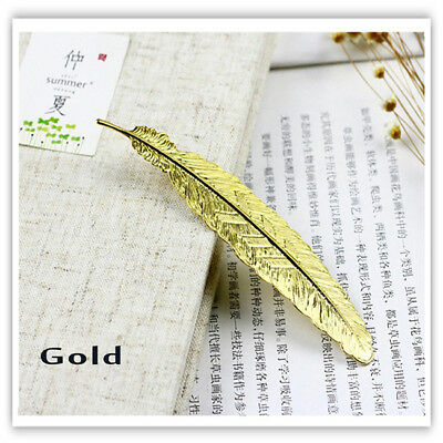 Metal Feather Shaped Bronze Plated Bookmarks Book Markers For Readers L