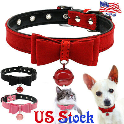 Pet Dog Cat Puppy Inner Padded Leather Collar Bell Bowknot Necklace Leash Rope