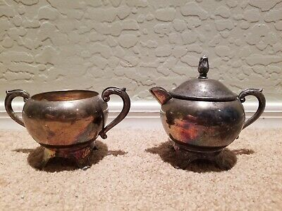 Antique F.B Rogers Silver Plated Sugar And Creamer Set