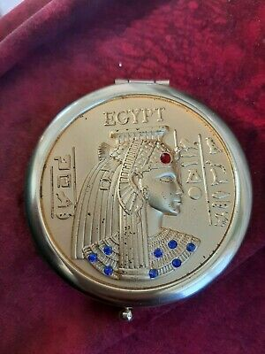 vintage Egyptian rounded mirror golden rare Pharaohs antique heritage stras bead