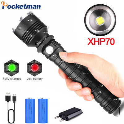 99000LM XHP50/XHP70 LED Flashlight Rechargeable 5 Modes Zoom Torch 18650/26650