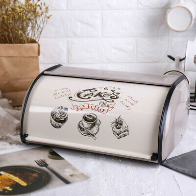 Gray Bread Box Metal Bin Kitchen Container Cake Keeper Food Storage Roll Top Lid