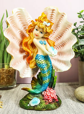 """Aquamarine Mermaid Mergirl Holding Blue Sconce By Giant Pearl Shell Statue 7""""H"""
