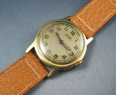 Rare Vintage Wyler WW2 Era Military Style Solid 14K Gold  Mens Watch  17J 1940s