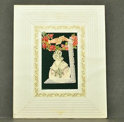 Antique Vintage Victorian 1910 French Decoupage Art Piece