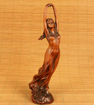 Dancing belle chinese unique boxwood handwork lovely statue netsuke home deco