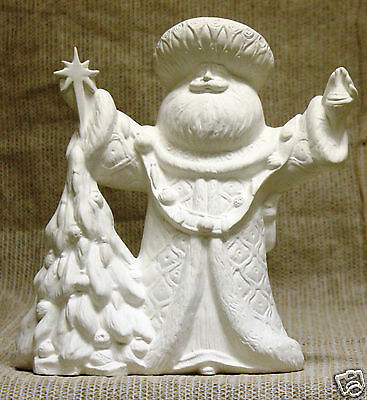 Ceramic Bisque Mold Santa Claus Figure Bells on Robe Christmas Ready to Paint