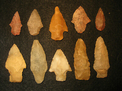 10 Authentic East Texas Prehistoric Arrowheads, Indian Artifact Collection, #P4