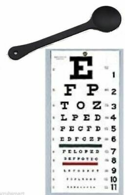 "New FULL SIZE Snellen 22"" x 11"" Plastic Eye Test Wall Eye Chart WITH OCCLUDER !"