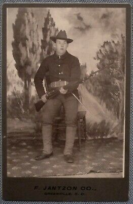 Cabinet Photo of Spanish American War Soldier With Trapdoor Rifle