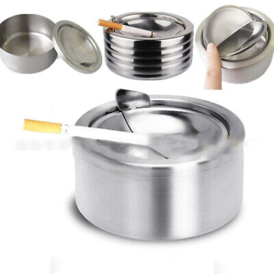 Round Stainless Steel Windproof Cigarette Smoking Ashtray For Smoker Accessories