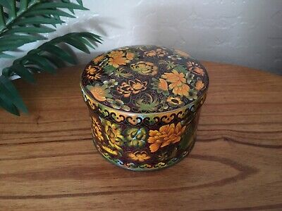 Vintage Daher Tin Canister Brown & Yellow Gold Floral Made In England