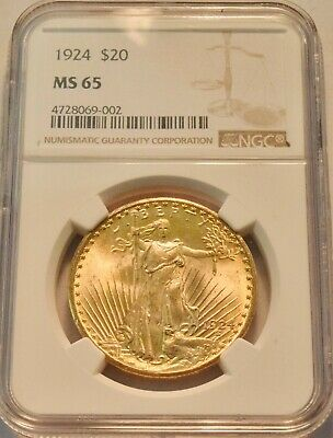 1924 $20 NGC MS 65 Gold St. Gaudens Double Eagle, GEM Uncirculated Saint Twenty