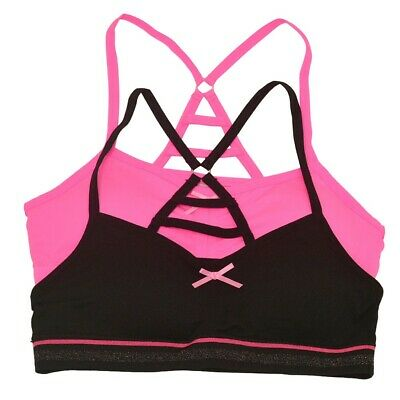 Big Girls Black Pink Strappy Back Tiny Tie Accent 2 Pc Cami Bra Set 8-16