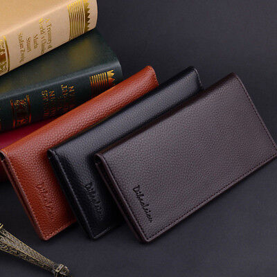 Luxury Business Mens Long Leather Wallet Pockets Card Clutch Bifold Purse