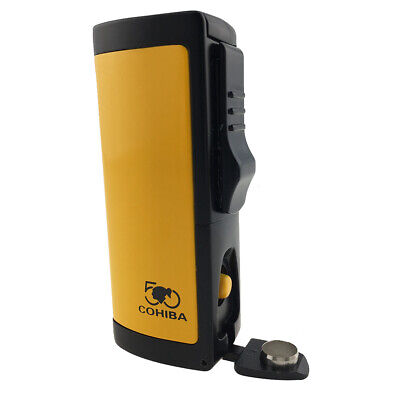 COHIBA Triple Jet Flame Butane Gas Cigarette Torch CigarLighter with Cigar Punch