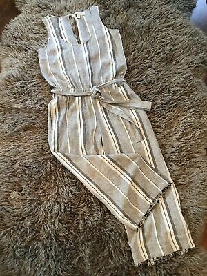 Anthropologie Cloth & Stone Gray Striped Linen Cropped Casual Jumpsuit NEW XS