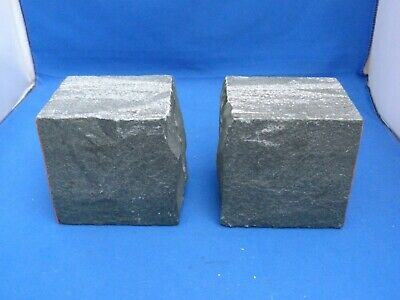 2 Heavy Chunks Square Slate Door Stopper Wedges Red Felt on Sides H9cms