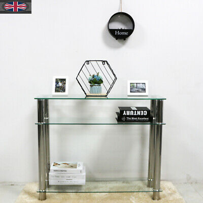 Clear Glass Side End Bedside Lamp Console Table Hall Shelf Unit Lounge Hallway