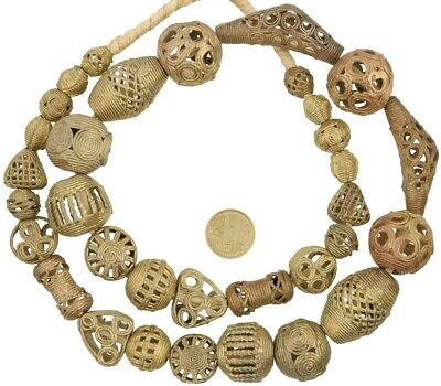 African handmade brass trade beads Ghana Ashanti Akan lost wax bronze beads new