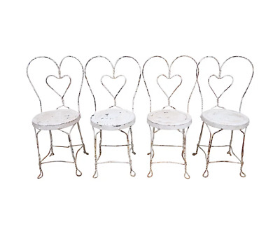 4 Vintage Heavy Heart Back Twisted Metal Ice Cream Parlor Chairs