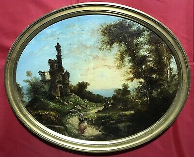 19th CENTURY CONTINENTAL SCHOOL OVAL OIL PAINTING - FIGURES IN ANCUENT RUINS