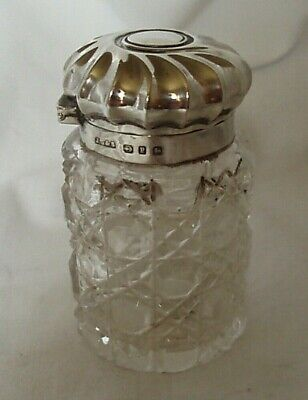 Scent Bottle & Stopper Cylindrical Victorian Sterling Silver Birmingham 1898