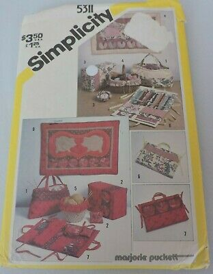 Simplicity Sewing Pattern 5311 String Quilted Sewing Basket Liner Tote Bag 1980s