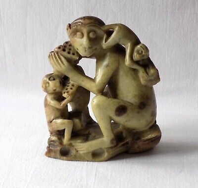 Vintage Antique Carved Green Soapstone Monkey Family Chinese, Indian, Heavy.