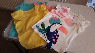 M&S Set Of 4 X Girl's Cotton Summer Tops With Frilly Sleeves Age 2-3 Years - New