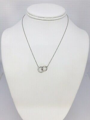 Tiffany & Co. 18k White Gold and Diamond Interlocking Circles Necklace