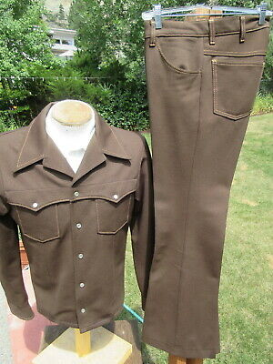 Vintage Western FARAH Leisure Suit S/M 32x33 - Flared Legs & Pearly Snaps
